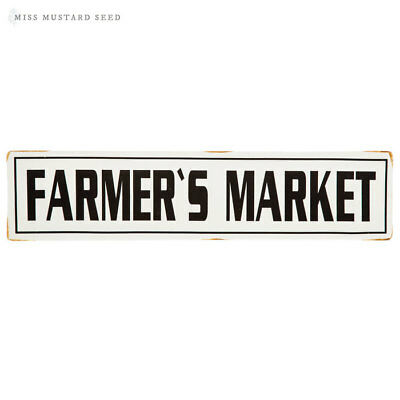 Farmers Market Sign Rustic Farmhouse Antique White Decor Embossed Metal Tin