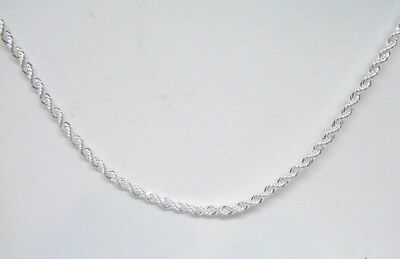 """Women's Stamped 925 Sterling Silver plated 2mm Rope chain necklace 16"""" - 30"""""""