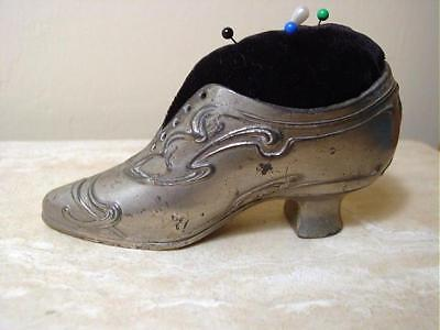 """Antique Silvered Cast Metal Ladies Shoes Pin Cushion 5 1/2"""""""