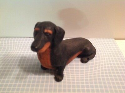 Vtg 1988 CASTAGNI Italy DACHSHUND Seated DOG FIGURINE Black and Brown signed