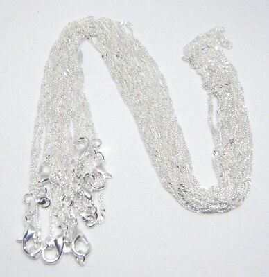 "Women's 925 Sterling Silver Plated 1.7mm Twist Wave chain necklace pick 16""- 30"""
