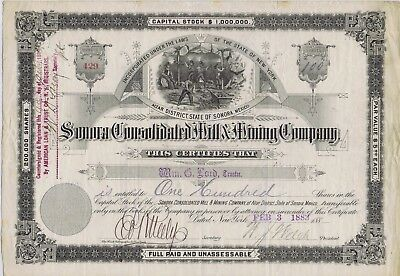 Sonora Cons. Mill & Mining Co. Stock Certificate, Mexico 1883