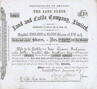 Colorado Cattle Co. Stock Certificate- Pick Ranch, Wyoming Border 1887