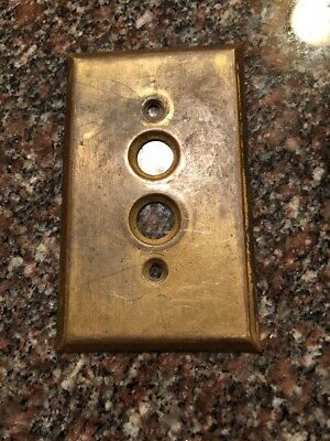 Vintage Brass Type Electric Push Button Switch Plate Cover #150