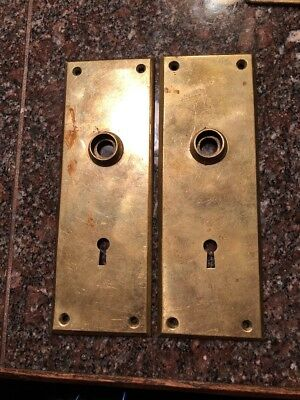 Antique Vintage Solid  Brass Door Knob Back Plate Escutcheon Key Cover #155 8""