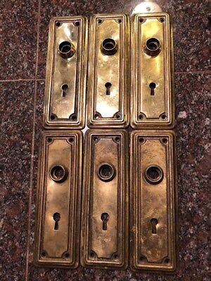 Lot Of 6 Antique Vintage Solid Brass Door Knob Back Plates #156