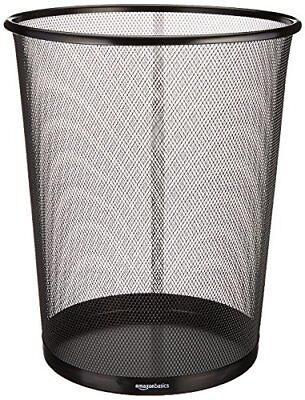 Mesh Waste Basket Trash Can Office Home Bin Wire Garbage Cylinder Shape  Black