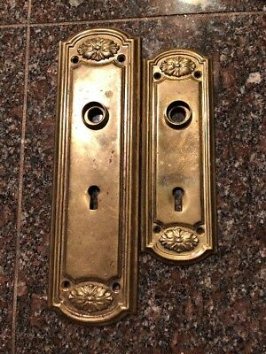 Vintage Art Nouveau Brass Door Knob Back Plates Victorian Skeleton Key #158