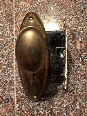 Antique Vintage Solid Brass Oval Door Knob Plates and Sargent Mortise Lock #163