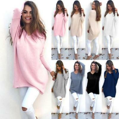 Casual Loose Long Sleeve Sweater Womens Knitwear Pullover Jumper Tops LOT ST