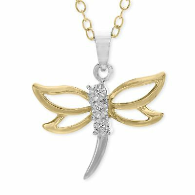 Dragonfly Pendant with Diamonds in 14K Gold-Plated Sterling Silver