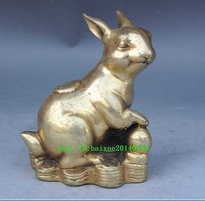 Chinese old brass Wealth Money zodiac rabbit Mice Animal statue /daming mark