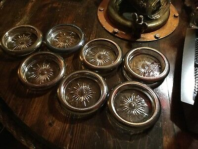 Vintage lot of 7 Leonard Sterling Silver Plate Crystal Coaster Made in Italy