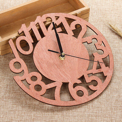 Retro Round Shape Wooden Wall Clock DIY Wall Watches Room Home Hanging Decor