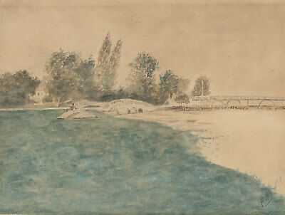 F.M - A Pair of Early 20th Century Watercolour, Lake Landscapes
