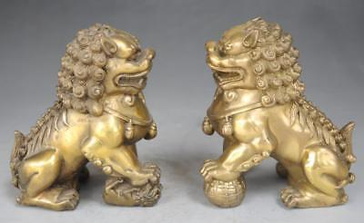 Folk Chinese Palace Brass FengShui Guard Foo Fu Dog Door Lion Statue Pair