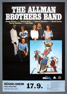 ALLMAN BROTHERS BAND rare original Germany 1980 Reach For The Sky concert poster