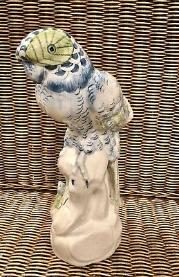 Vintage Hand Painted Italian Ceramic Parrot White, Blue & Green