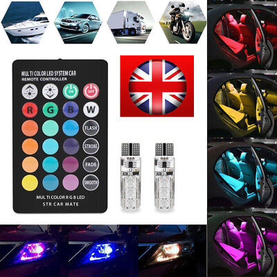 2X LED T10 W5W 501 RGB Changing Car Wedge Side Light Bulbs With Remote Control