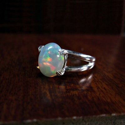 Prong 925 Sterling Silver Natural Ethiopian Welo Fire Opal Ring Jewelry Us 3- 13