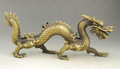 chinese old fengshui copper hand-carve propitious lucky dragon statue
