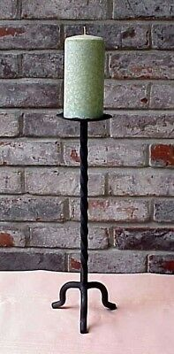 """Vintage Wrought Iron Candlestick Twisted Forged 15 1/2"""" Tall Made in India"""
