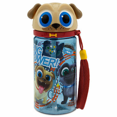 "Disney Store ROLLY WATER BOTTLE Puppy Dog Pals Small 6.5"" 12 oz NEW Bingo 2017"