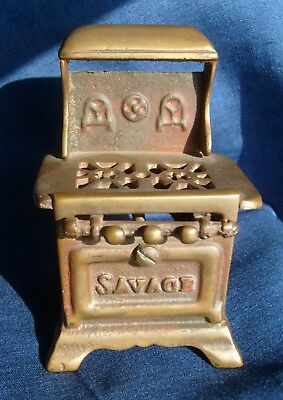 Antique SAVAGE BROTHERS Brass Stove Miniature Store Display - Advertising