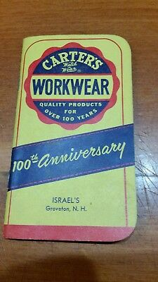 Vintage Carters Workwear 100Th Ann Advertising 1959-60 Notebook Groveton Nh