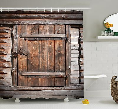 Vintage Shower Curtain by Ambesonne, Rustic Wooden Door of Old Barn in Farmhouse