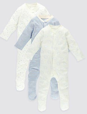 M&S Marks & Spencer Blue Early Baby 3 Pack Soft Cotton Sleepsuits  NEW