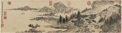 Chinese scroll painting Sansui landscape Life interest amid mountains & streams