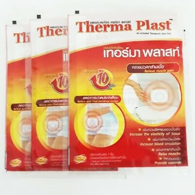 3 x Therapeutic relief muscle pain aches menstrual cramps patch warmth heat pad