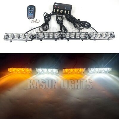 4in1 16 W LED Emergency Bacon Flash Strobe Warning Lights Grille Amber White