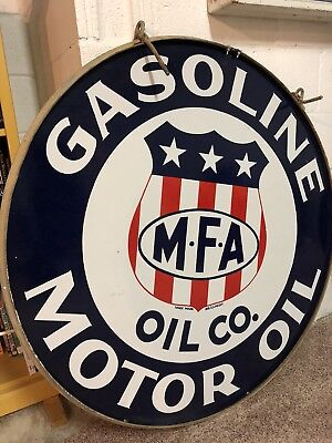 MFA Oil 2 Sided Porcelain Sign, With Bracket