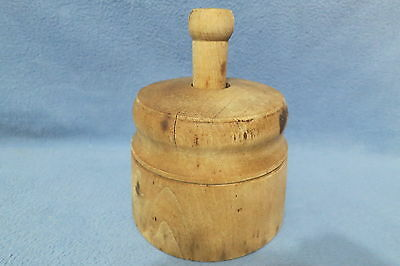 Antique 19th Century US Large Wood Butter Mold w Carved Pineapple Press or Stamp