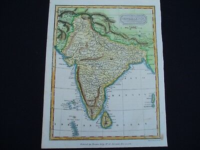 1817 Kelly Findlay Map India Nepal Tibet China Asia 200 Yr Old Antique
