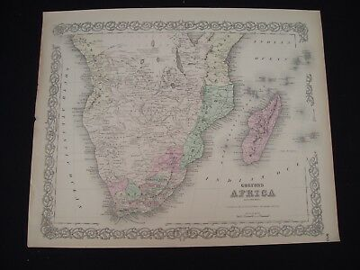 1855 Colton Atlas Map Southern Africa 162 Yr Old Genuine Antique