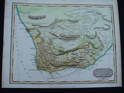 1817 Kelly Findlay Map Southern South Africa Cape Colony 200 Yr Old Antique