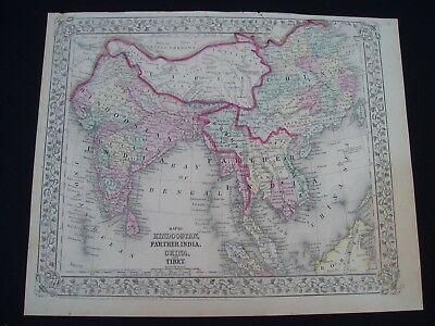 1867 Mitchell Atlas Map India China Tibet Asia Indonesia Rare 150 Yr Old Antique
