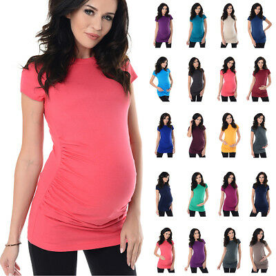 a4750d424030f PURPLESS MATERNITY SKELETON-COTTON Maternity T-shirt Top White Gold ...