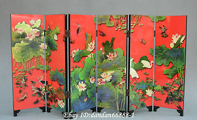 张大千) Collect Chinese lacquerwork colour painting scenery folding screen byobu
