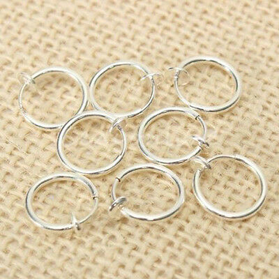 Lc_ 8X Non-Piercing Fake Spring Septum Nose Hoop Lip Ear Ring Clip On Jewelry