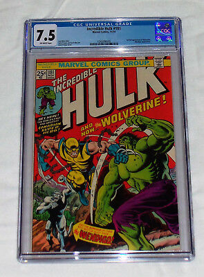 Incredible Hulk #181 Cgc 7.5 1St Full Appearance Of Wolverine Ow/white Pages