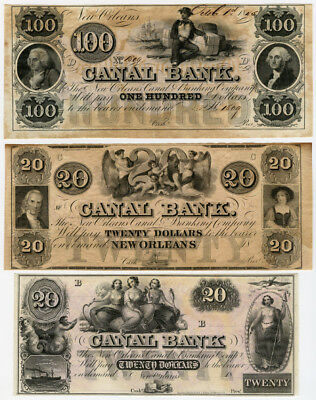 Us.1840-50 Obsolete $100,$20 & $20 Canal Bank New Orleans Lot Of 3 Unc Banknotes