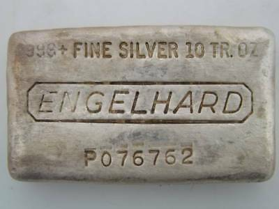 Englehard .999+ Fine Silver 10 Troy Ounce Poured Loaf P076762 Lot11218