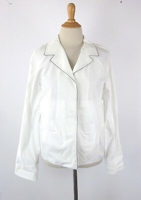 Marni White 100 Cotton Pajama Style L S Shirt Blouse Top 42 Made In