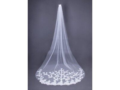 White Cathedral Length Lace Edge Bride Wedding Bridal Long Veil + Comb