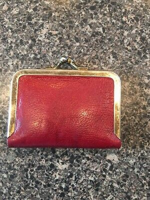 Vintage Red Leather? Vinyl?  Sewing Kit Snap - Shut start your collection