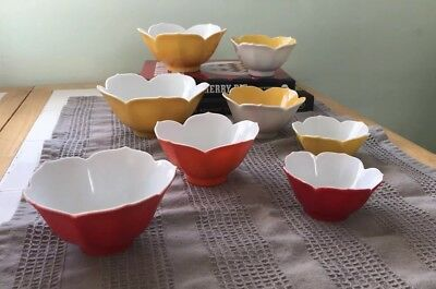 Retro 70's Tulip Shaped Japanese Lotus Bowls - Set of 8, Daisy Yellow